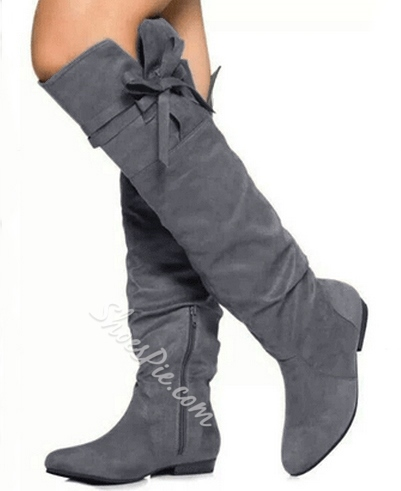 Comfortable Flat Heel Coppy Leather Knee High Boots with Bowtie Decoration