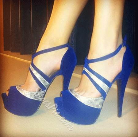 Gorgeous Blue Suede Ankle Strap Dress Sandals