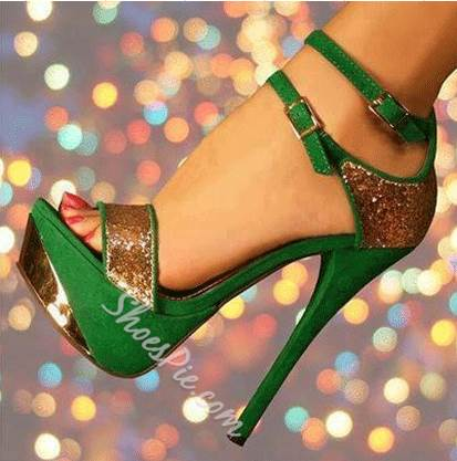 Gorgeous Green & Golden Contrast Color High Heel Sandals with Double Ankle Strap