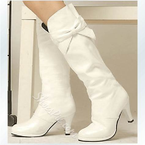 Elegant White PU Stiletto Heel Knee High Boots with Lovely Bowtie Decoration
