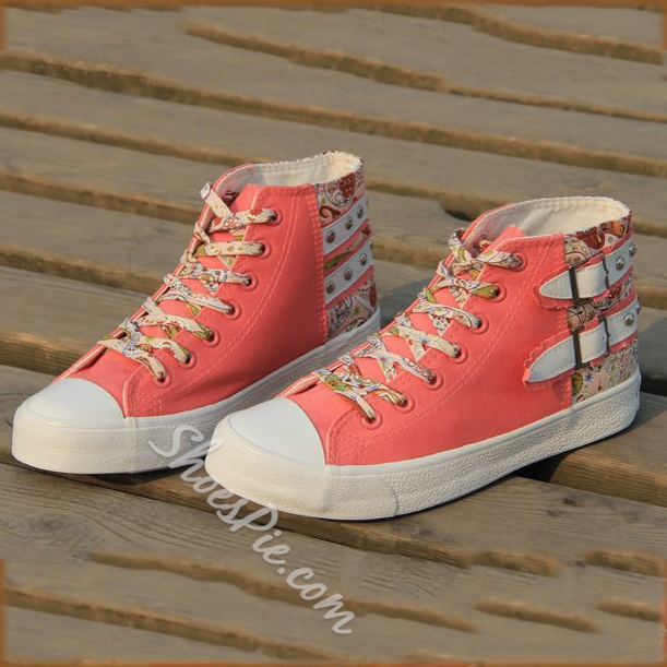 Casual Rivets Flower Print High-Top Canvas Shoes