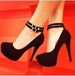 Shoespie Fashionable Black Suede Double Ankle Strap High Heel Shoes