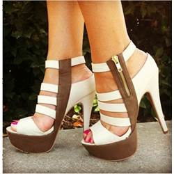 Fashionable White & Brown Cut-Outs Dress Sandals