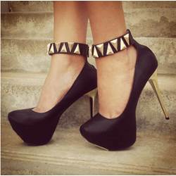 Sexy Black Coppy Leather Ankle Strap Platform High Heel Shoes