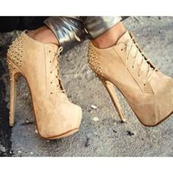 Fashionable Camel Coppy Leather Lace-Up High Heel Ankle Boots