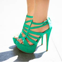 Fancy Green Coppy Leather Cut-Outs High Heel Sandals