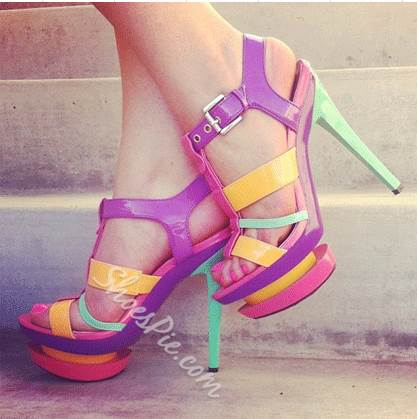 Gorgeous Contrast Colour Patent Leather Platform High Heel Sandals