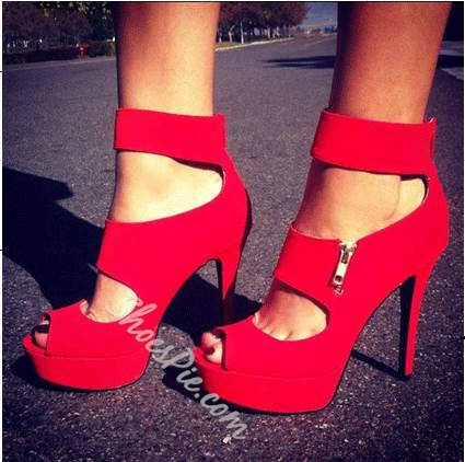 Glaring Red Suede Cut-Outs Platform High Heel Sandals