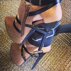 Amazing Contrast Color Suede Ankle Boots