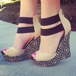 Classical Contrast Colour Double Ankle Strap Wedge Sandals