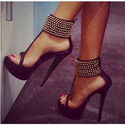 Amazing Ankle Strap Rivets Dress Sandals