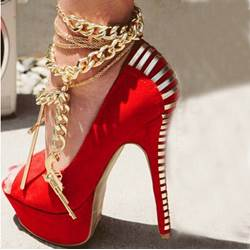Gorgeous Red Suede Peep Toe High Heel Shoes