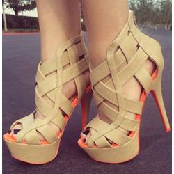 Fashionable Coppy Leather Cut-Outs High Heel Sandals