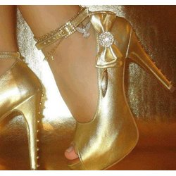 Stylish Golden Copy Leather Peep-Toe Platform Heels