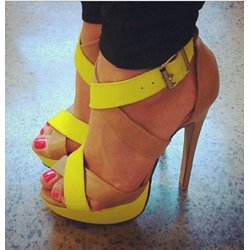 Amazing Contrast Colour Cut-Outs High Heel Sandals