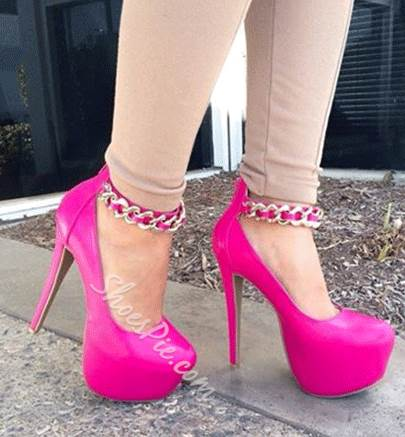 Gorgeous Rose Coppy Leather Metal Chain Ankle Strap High Heel Shoes