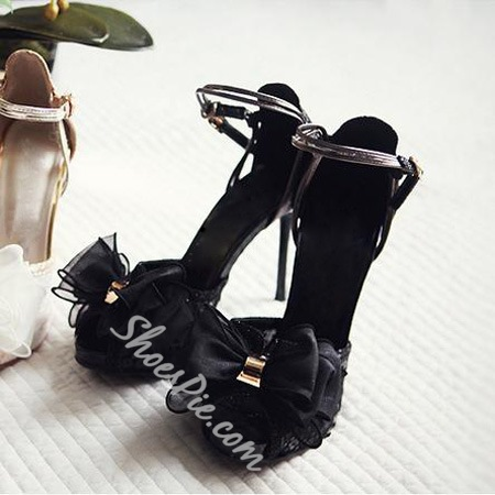 Elegant White Coppy Leather Lovely Bowtie High Heel Sandals