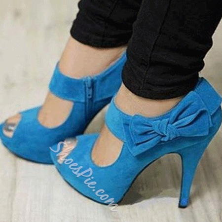 Elegant Blue Suede Bowtie Peep Toe Dress Sandals