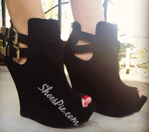 Comfortable Black Suede Wedge Ankle Strap Boots