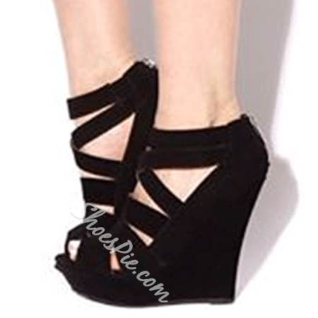 Gorgeous Suede Cut-Outs Wedge Sandals