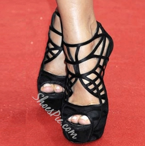 Fashionable Black Suede Cut-Outs Stiletto Sandals
