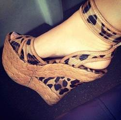 Comfortable Wedge Heel Leopard Grain Ankle Strap High Heel Sandals