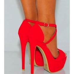 Gorgeous Red Suede Double Ankle Strap High Heel Shoes