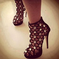 Sexy Black Cut-Outs Rhinestone High Platform Sandals
