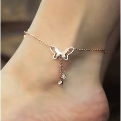 Shoespie Arrival Butterfly Rhinestone Mosaic Gold Anklets