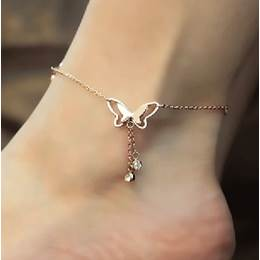 2014 New Arrival Butterfly Rhinestone Mosaic Gold Anklets