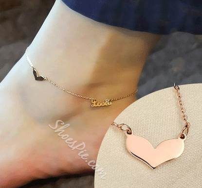2014 New Arrival Love Letters Mosaic Gold Anklets