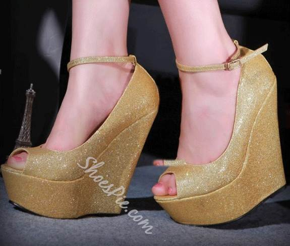 2014 New Arrival Wedge Sandals with Amazing Glitter