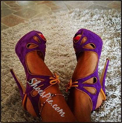 Elegant Purple Suede Butterfly Cut-Outs High Heel Sandals
