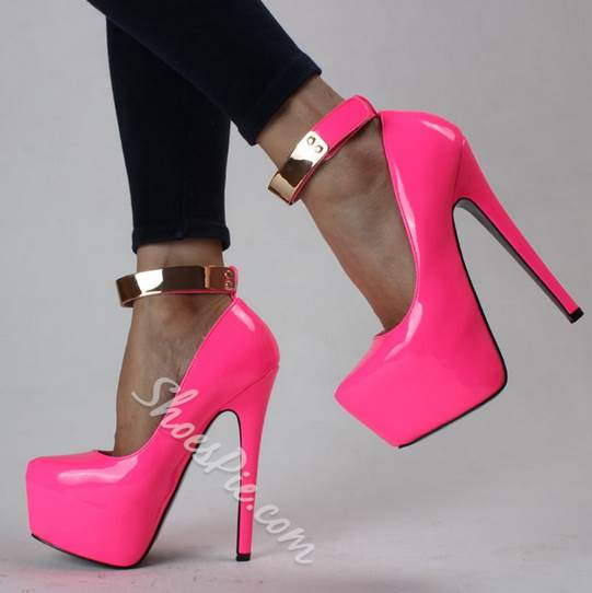 Candy Color Copy Leather Round Toe Platform Heels