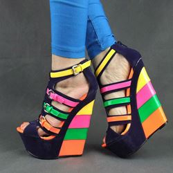 Shoespie Colorful Peep-toe Buckle Wedge Sandals