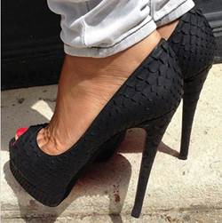 Fashionable Black Copy Leather Peep-toe Heels