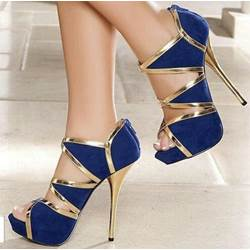 Fashionable Blue & Golden Contrast Colour Dress Sandals