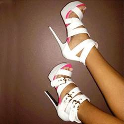 Elegant White Ankle Strap High Heel Sandals