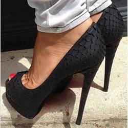 Shoespie Fashionable Black Copy Leather Peep-toe Heels