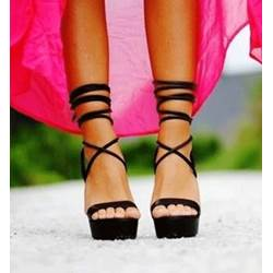 Sexy Black Suede Lace-Up Ankle Strap High Heel Sandals
