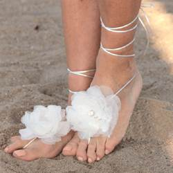 New Arrival White Silk Organza Flowers Beach Wedding Shoes
