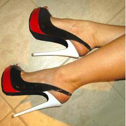 Fashionable Black & Red Contrast Colour High Heel Sandals