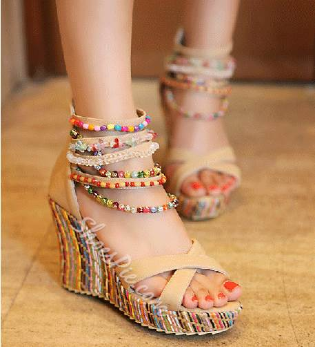 42c2c0126ca New Arrival Bohemian Beading Ankle Strap Wedge Heel Sandals ...