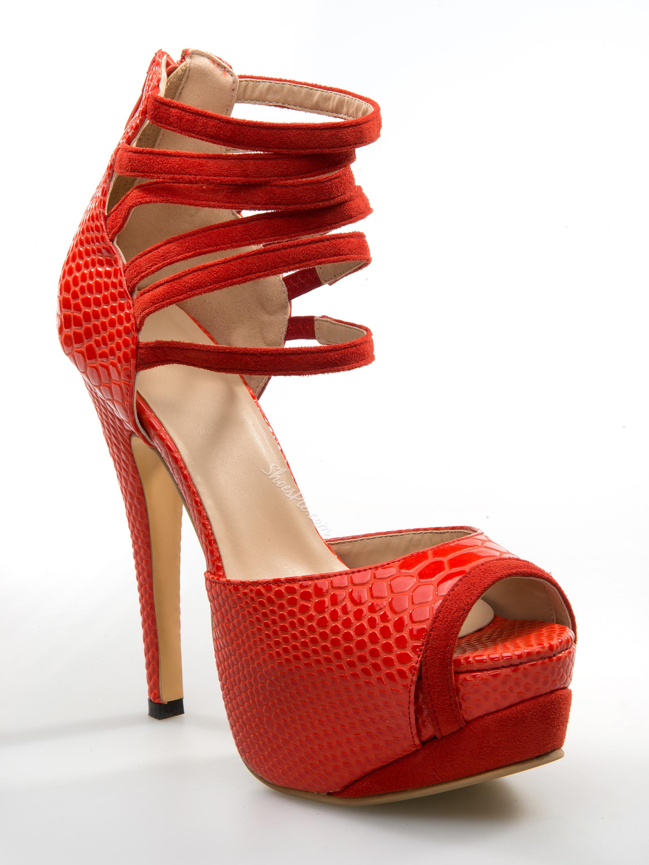 Fashionable Red Copy Leather Platform Heels