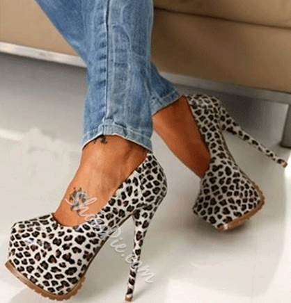 Sexy White Leopard Grain Platform High Heel Shoes