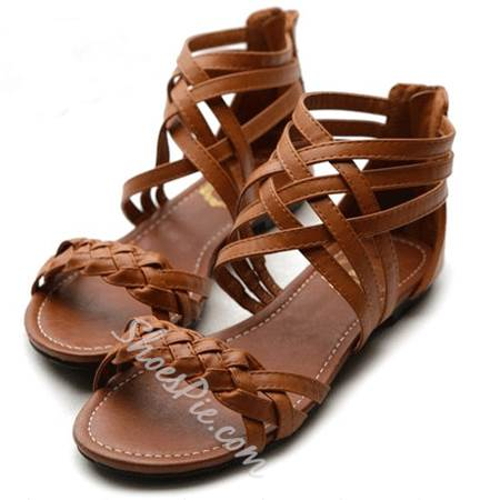 Comfortable Flat Heel Brown Coppy Leather Sandals