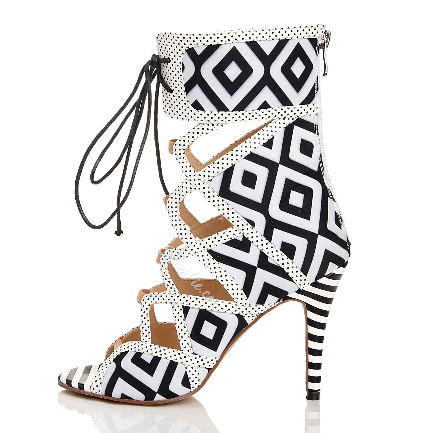 Fashionable Elegant Black & White Cut-Outs Dress Sandals