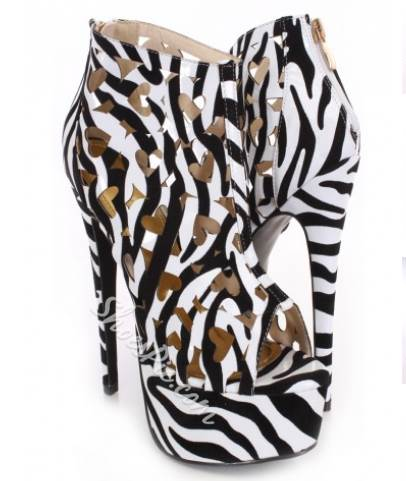 Fashionable Zebra Print Cut-Outs Ankle Boots