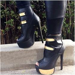 Sexy Black Coppy Leather High Heels Ankle Boots
