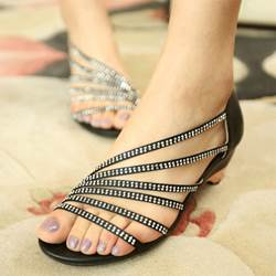 New Arrival Black Rhinestone Decoration Flat Heel Sandals